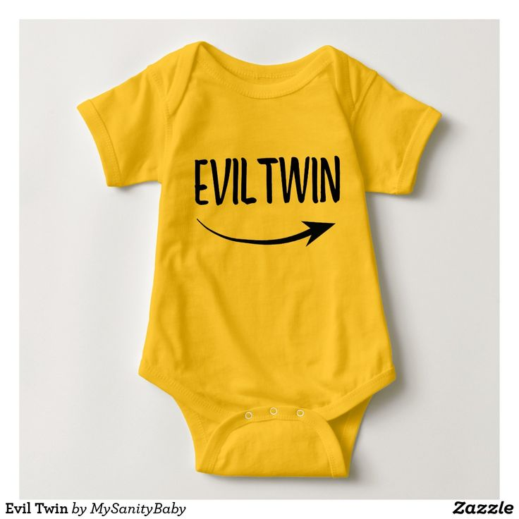 """Evil Twin Bodysuit - Funny baby bodysuit for twin babies - an arrow pointing to the other baby saying """"Evil Twin"""" - Find in our baby clothes for twins collection the body suit with the same message and inverted arrow."""