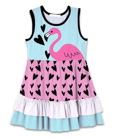 88a912a7f Sunshine Swing | Loving this Turquoise & Pink Flamingo & Hearts Ruffle-Hem  A-Line Dress - Toddler & Girls on #zulily! #zulilyfinds