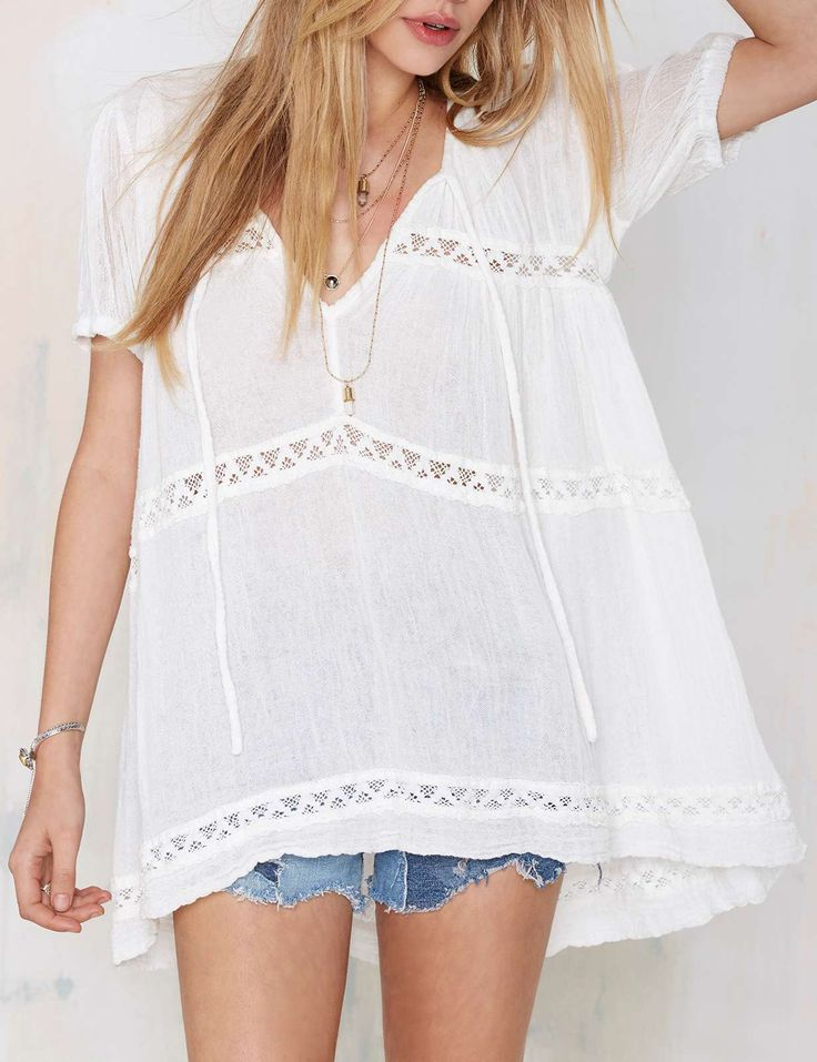 White Short Sleeve With Lace Blouse 18.99