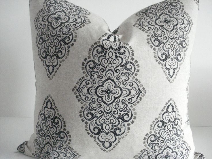 NEW-Both Sides - Neutral Damask Medallions -Decorative Designer Pillow Cover-Taupe-Charcoal -Natural  Throw /Lumbar Pillows by thecottagecupboard on Etsy https://www.etsy.com/listing/191942513/new-both-sides-neutral-damask-medallions