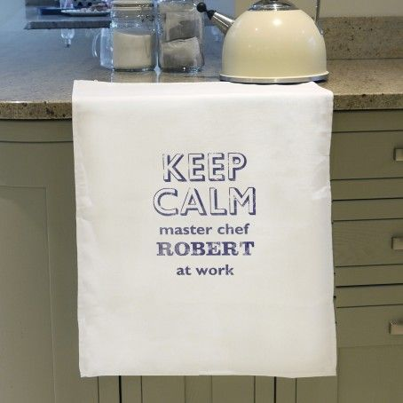 Personalised Keep Calm White Tea Towel P0510E43 A lovely gift to add a personal touch to someone's kitchen!