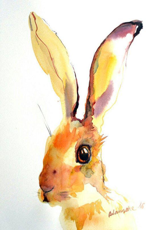 Gele Hare originele aquarel schilderij. door AlisaAdamsoneArt