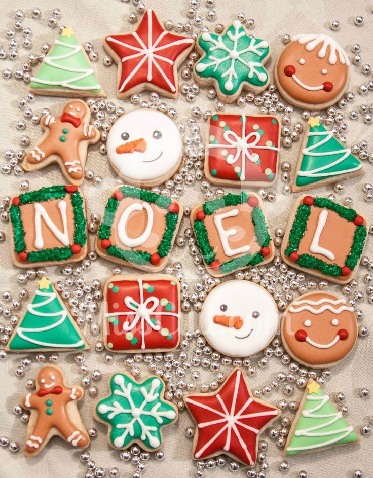 mini christmas cookies - these would be nice if you were giving a tin of cookies for a little gift and were able to set the letter cookies up this way for the presentation.