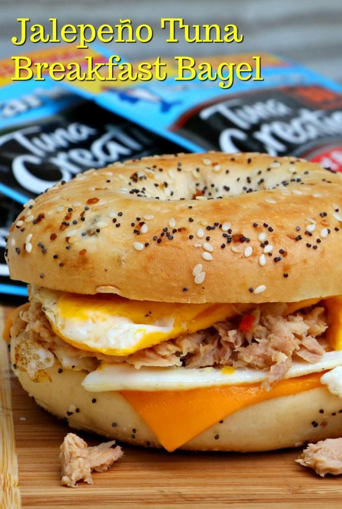 This Jalapeño Tuna Breakfast Bagel Sandwich is easy to make and whips up in a cinch! Plus it is pretty darn nutritious too. The flavor is amazing and even my kids love it! Give it a try for your next breakfast or lunch and you may have a new favorite!