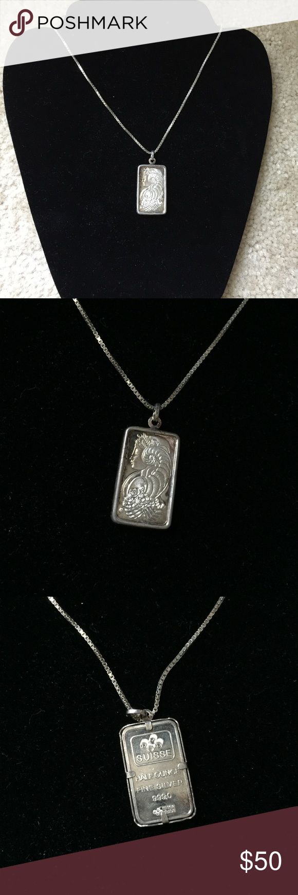 """Fine silver necklace with ingot Beautiful 925 stamped necklace with fine silver suisse half ounce of silver, 999.0.  Necklace measures 29"""" and ingot is 1.25"""" x .75"""".  Price firm.  Will be cleaned before I send it out. Jewelry Necklaces"""