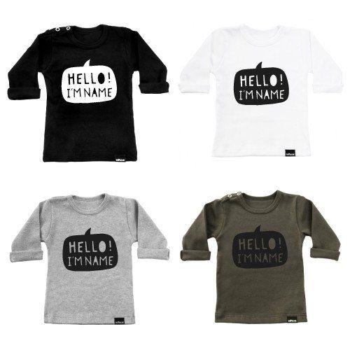 VanPauline monochrome T-shirt met naam - DE GELE FLAMINGO - 1