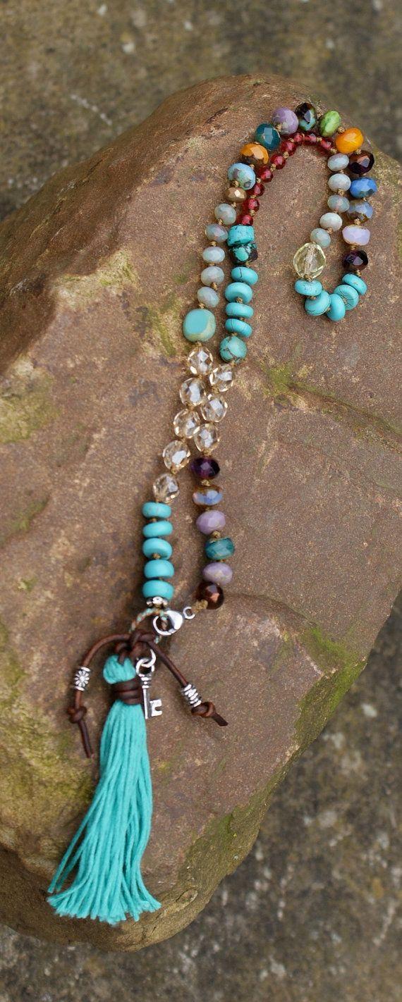 Key knot necklace OOAK bohemian boho chic by Mollymoojewels