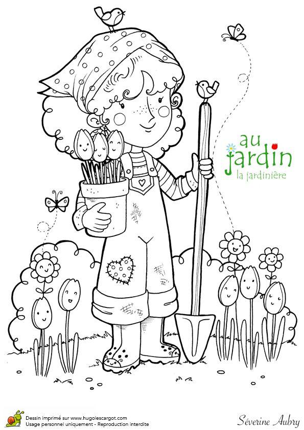 Coloriages jardinage la jardiniere