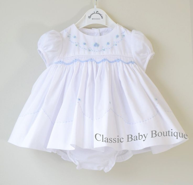 Sarah Louise Girls White Blue Hand Smocked Rose 2pc Dress & Bloomers Newborn