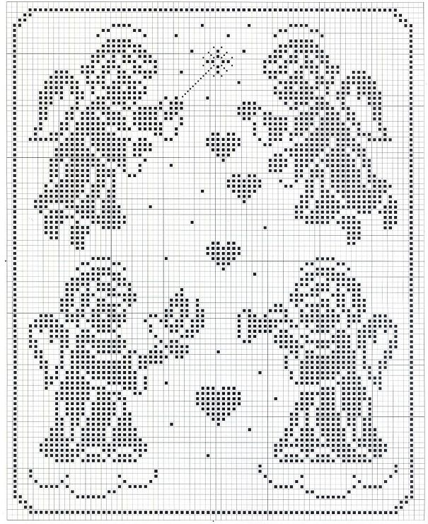 although cross stitch, would make a great filet crochet pattern: