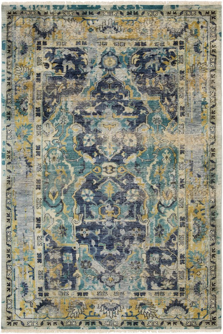Oatmeal johnsen living room pinterest products rugs and wool - Festival Hand Knotted Wool Area Rug From Suryasocial Mixes Navy Teal