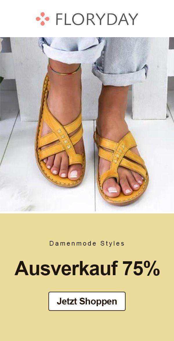Geometrische Damen Sandalen mit flachem Absatz in 2020