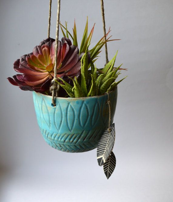 T I D E P O O L: Ceramic Hanging Planter with Feather Charms