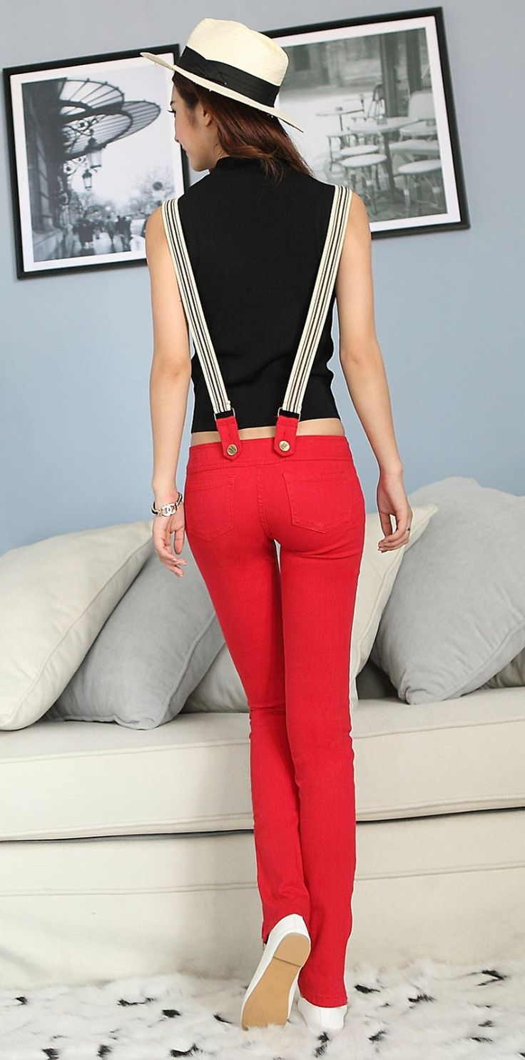 New Stylish Women's Overalls Denim Jumpsuit Jeans Suspender Trousers Jumpsuits Red Free Shipping