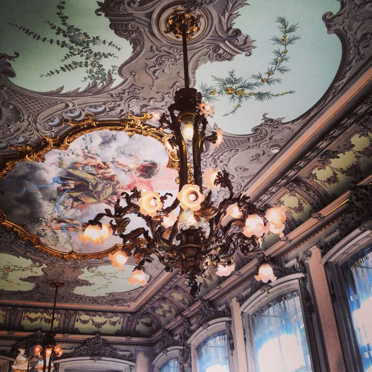 Hotel Pestana Palace. Ceiling. Room. Paintings. Chandelier. Lisbon. Lisboa. Portugal.