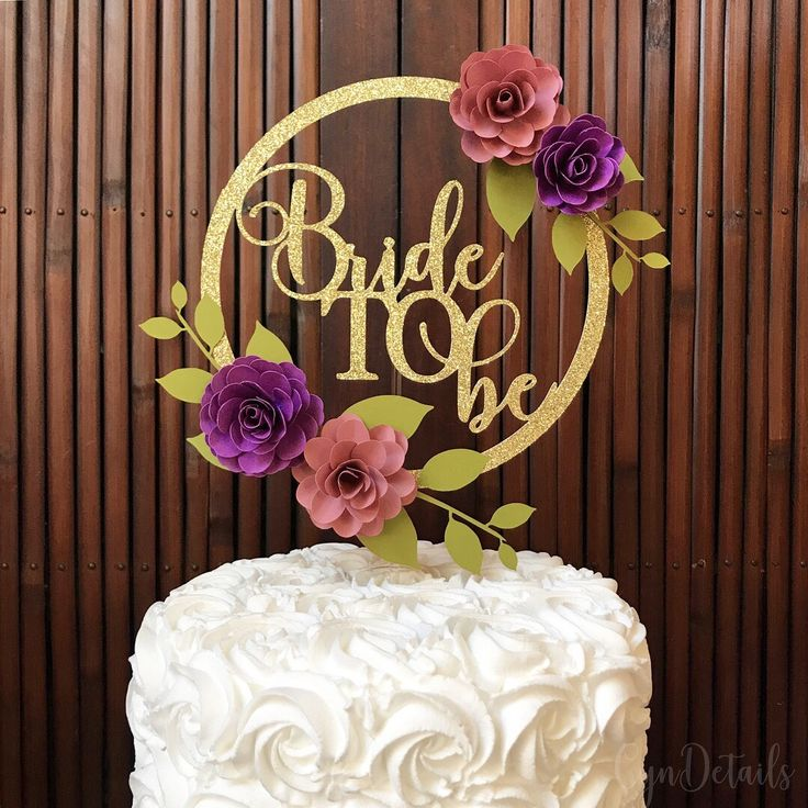 Bridal Shower cake topper with mini handmade paper flowers by CynDetails (IG @cyndetails)