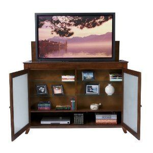 the brookside mocha tv lift cabinet for flat screen tvs up to