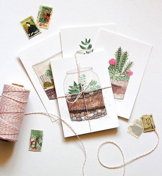 Succulent terrarium art postcards Set of 4 botanical by verysarie