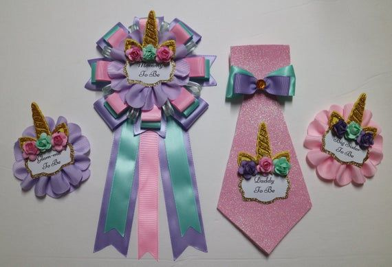 Baby Unicorn Baby Shower Gust Pins Grandma Sister To Be Corsage