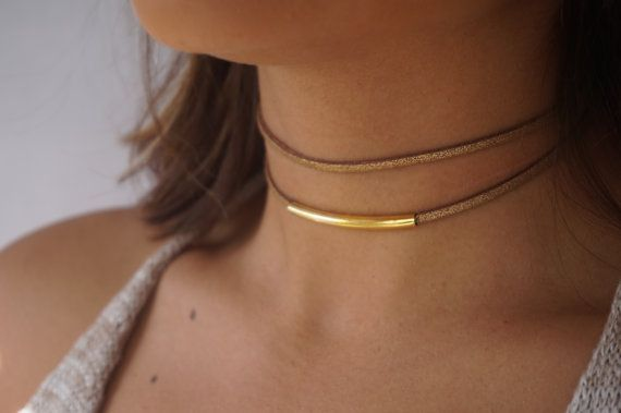 Double Suede Choker Gold Choker Necklace Dainty Choker by tooposhh