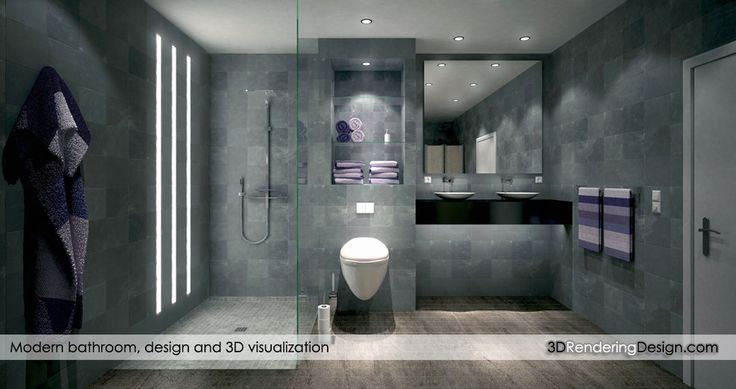Modern bathroom rendering   An ultra modern bathroom with 3 led stripe illumination for a non-conventional light experience.