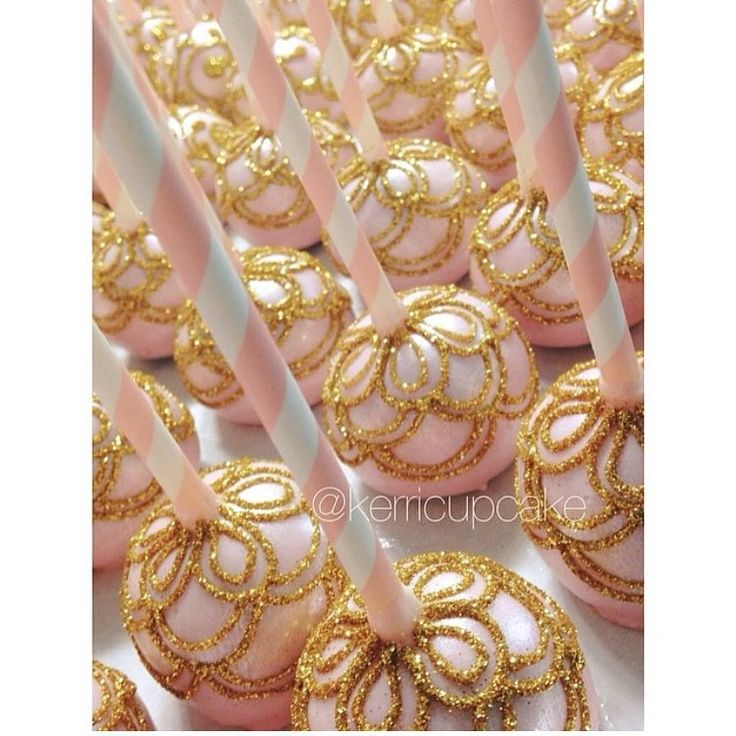 Gorgeous pink + gold cake pops! By @kerricupcake #sparkle #sweets #cake…