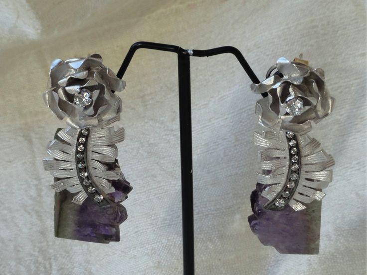 Ear rings from India- Amethyst, white stone silver ear ring.Designer I – Artikrti