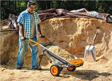WORX Aerocart 8-in-1 All-Purpose Lifter/Carrier/Mover...would be good for mucking out at shows..It looks smaller than a traditional wheelbarrow, but its actually holds the same amount! Gahh I need this!