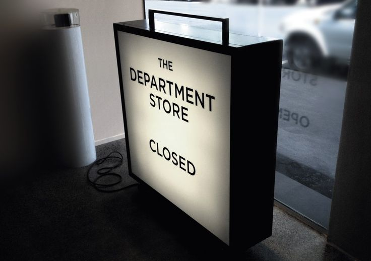 "love the idea of a unique light-up ""closed"" sign as in the 'The Department Store'"