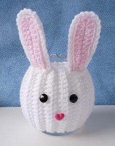 Bunny Jar Cozy - free crochet pattern - Free Crochet Bunny Patterns - The Lavender Chair