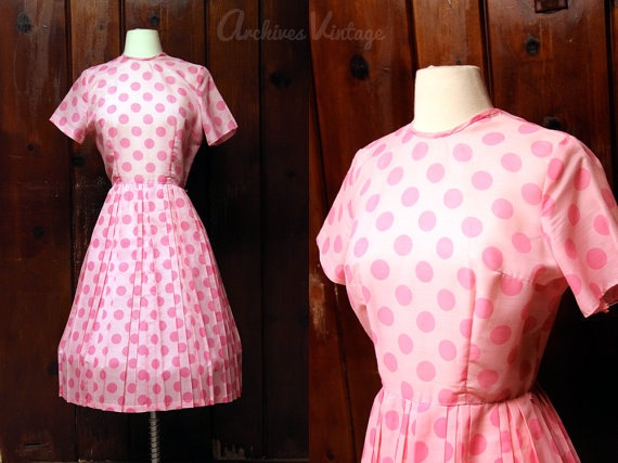 1950s dress pink polka dot full skirt dress #vintage1950S Dresses