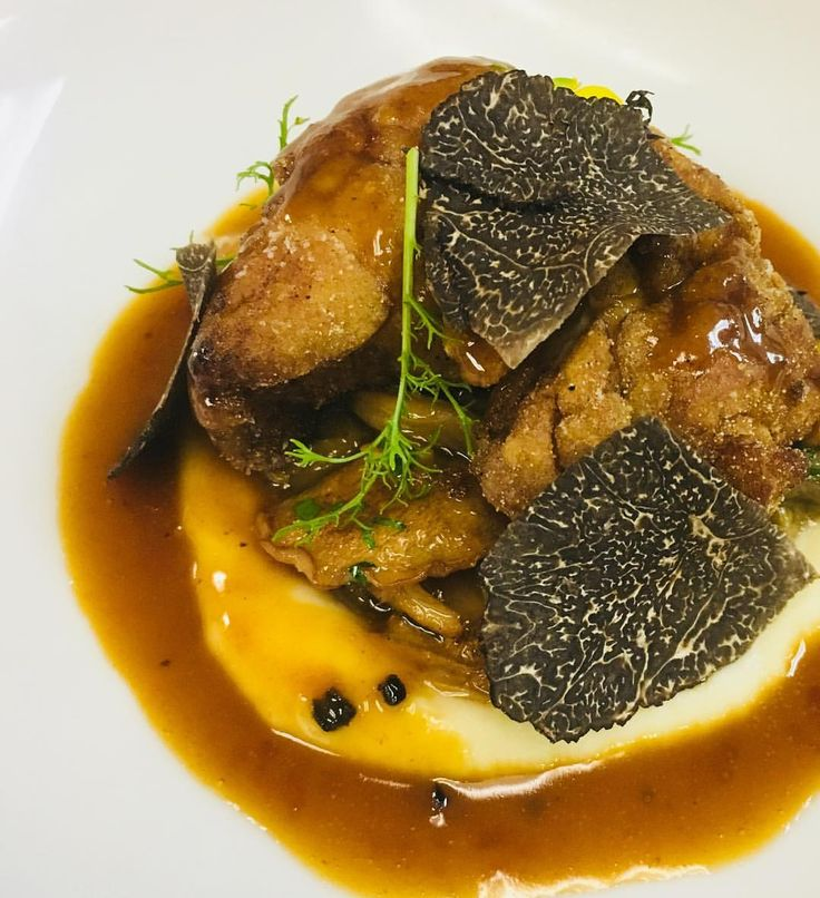 """65 Likes, 2 Comments - Hiro Sone (@hiro_sone) on Instagram: """"Sautéed Sweetbreads on Celery Root Purée with Fricassée of Wild Mushrooms and Périgord Truffles . .…"""""""