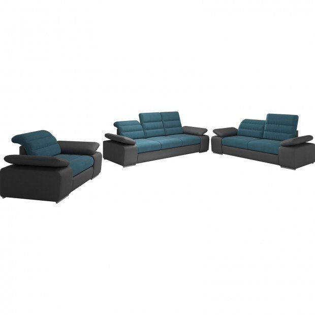 Ensemble Canape 3 2 1 Design En Tissu Bleu Et Pvc Gris Fonce Ensemble Canape Canape Canape 3 2