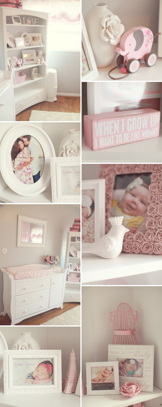 Pink, Gray, and White Nursery. Wonder if it's crazy to start collecting these items. Not pregnant no husband but I do have HOPE.