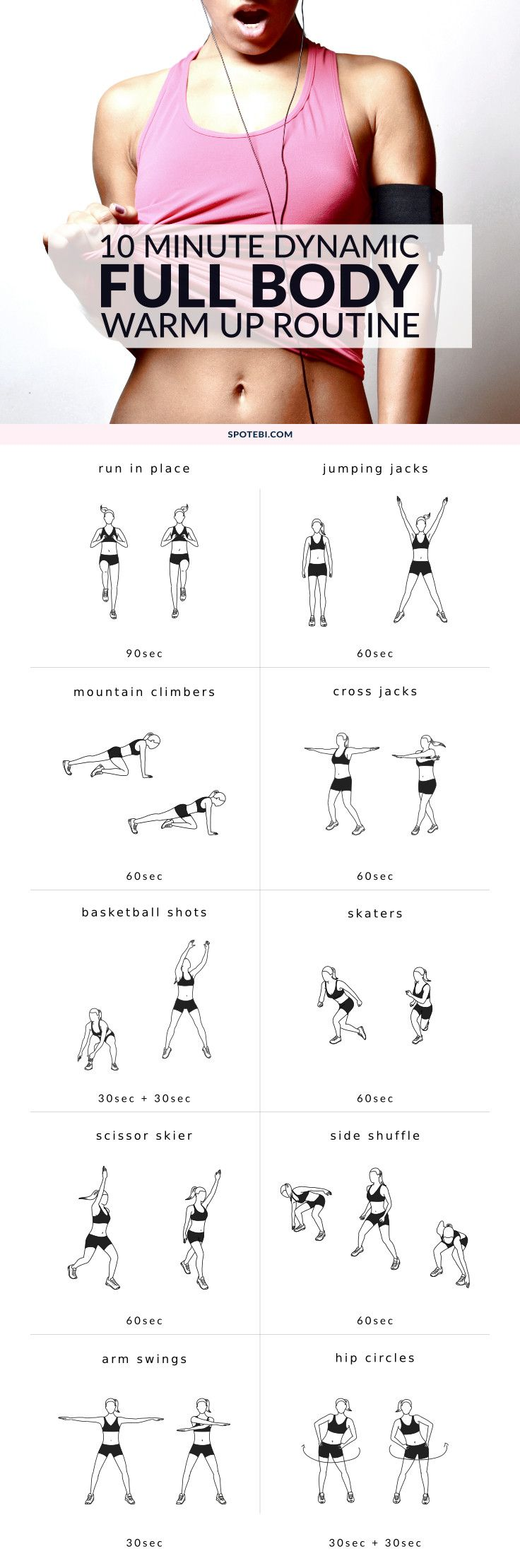 Optimize your performance and improve your flexibility with this dynamic full body warm up routine. A 10 minute circuit that will increase body temperature, promote blood flow and prepare your heart for more work. http://www.spotebi.com/workout-routines/10-minute-dynamic-full-body-warm-up-routine/