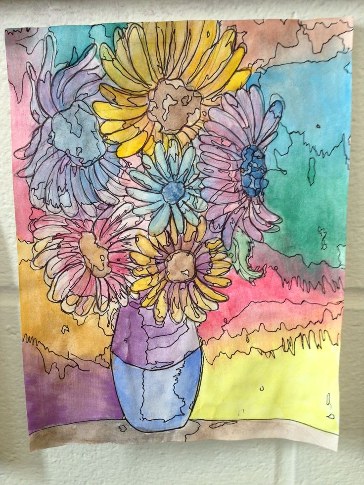 """Baldwinsville Christian Academy art lesson middle/junior high school - Van Gogh study on """"Sunflowers"""" in watercolor, emphazing in black changes in value/tint-hue"""