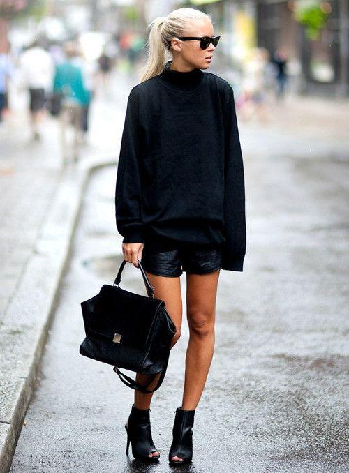 via imnext.se/victoriatornegren Kappahl sweater Mango heels (similar) Lindex bag Issue 1.3 shorts