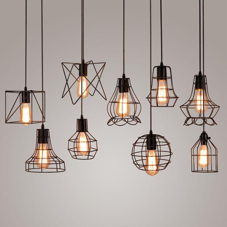 Vintage Metal Cage Pendant Light Hanging Lamp Edison Bulb Lighting Fixture New Loft Lamps