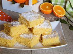 Quadrotti arancia e ricotta senza burro e senza olio