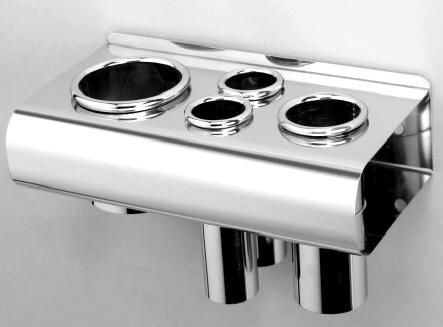 Pibbs 473 stainless steel hair dryer and 3 curling iron holders great for salon spa or home use in a bathroom