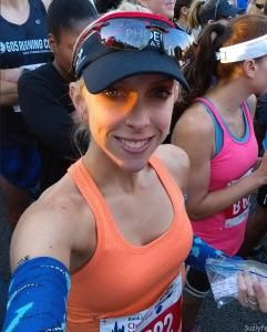 Susie in Corral B for the 2015 Bank of America Chicago Marathon! Narwhal arm warmers are a must! More fun and about the race at Suzlyfe.com