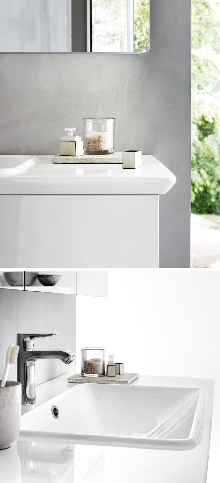 The elegant, rounded corners on the washbasin match the curve on the mirror cabinet.