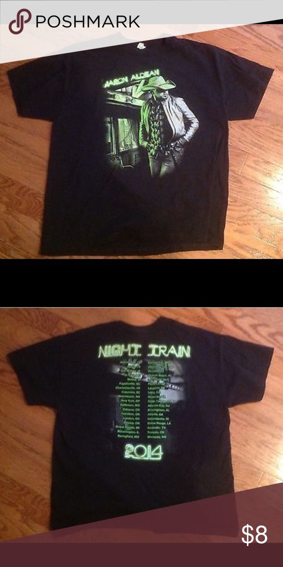 """T Shirt Jason Aldean Night Train 2014 Size XL Gently used black t shirt-size Extra Large with """"Jason Aldean"""" on the front and """"Night Train 2014"""" on the back. The width is ~ 22 inches and the length is ~ 27 inches Anvil Tops Tees - Short Sleeve"""