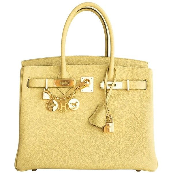 Pre-owned Hermes Jaune Poussin 30cm Togo Birkin Gold Ghw Satchel Bag... (€19.970) ❤ liked on Polyvore featuring bags, handbags, borse, hermes, yellow, hermes purse, satchel purses, beige purse, yellow handbags and beige handbags