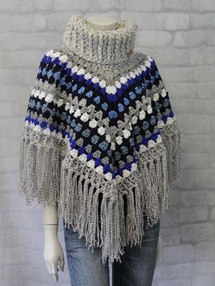 Super cozy poncho, would be awesome for summer nights around the fire.  #poncho #cowl #crochetponcho #chunkyyarn #sweater #blanket #summerfashion