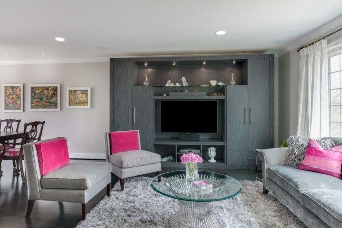 Wohnzimmer grau und rosa