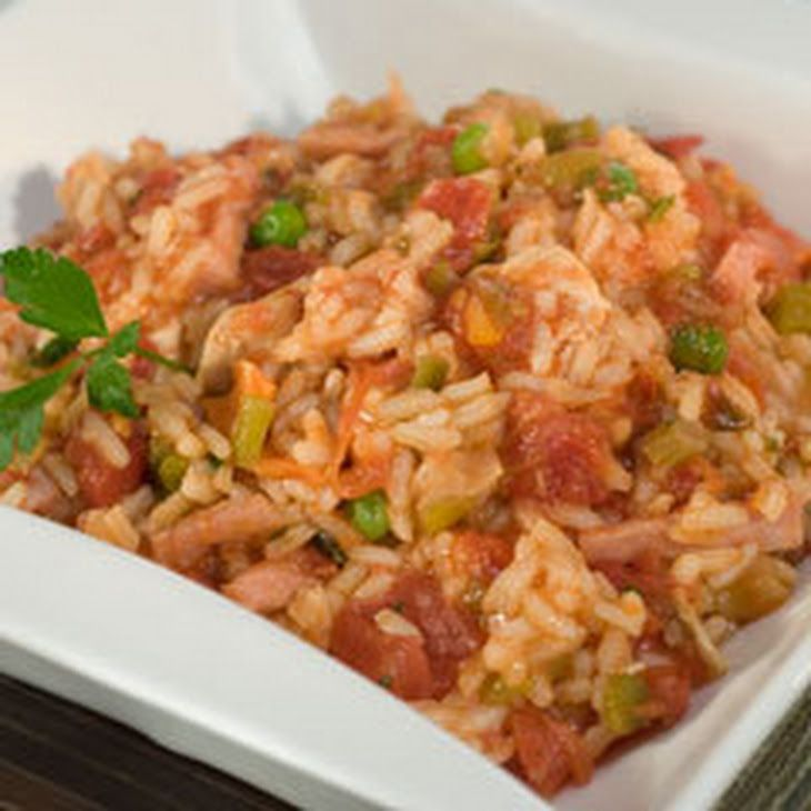 Chicken Jambalaya Recipe Main Dishes with vegetable oil, boneless chicken skinless thigh, ham, tomatoes, water, chop green chilies, undrain, Knorr® Vegetable recipe mix, regular or convert rice