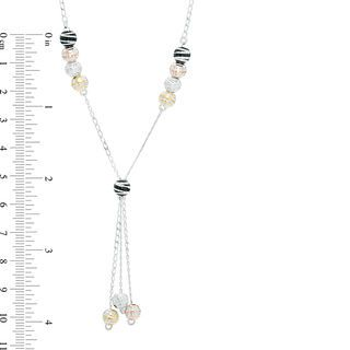 Bead Lariat Necklace in Tri-Tone Sterling Silver and Black Ruthenium   View All Jewellery   Peoples Jewellers