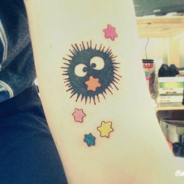 20+ Studio Ghibli Tattoos Inspired By Miyazaki Films | Little Susuwatari/soot Sprite Tattoo From Spirited Away
