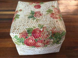 Keben bunga decoupage white wash